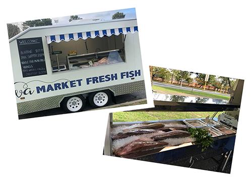 WA Market Fresh Fish trailer and display of fresh fish
